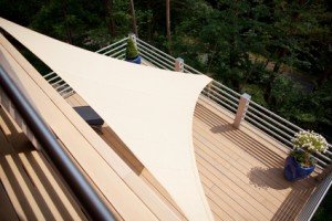 Sails are popular to cover large decks.
