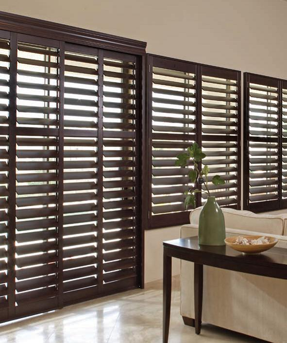 Shutters for sliding doors plantation shutters complete for Wood doors and shutters
