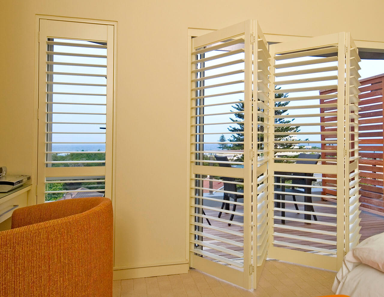 Plantation Shutters over Sliding Glass Doors