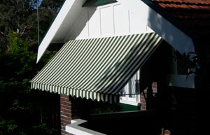 Window Awnings in a variety of fabrics and styles.