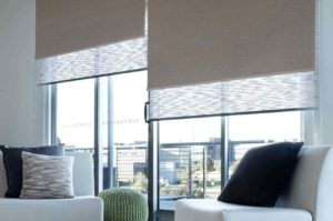 Dual roller system blackout blinds.