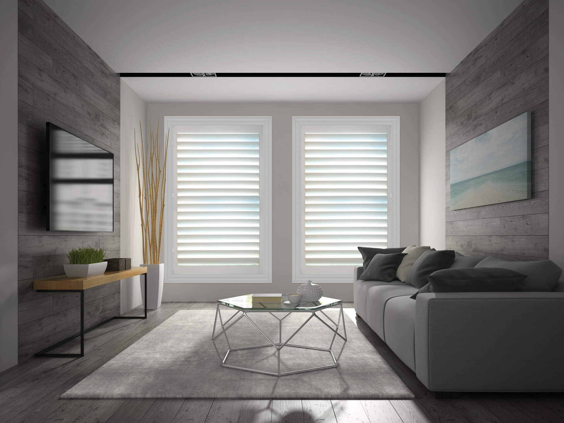 Modern shutters in living room