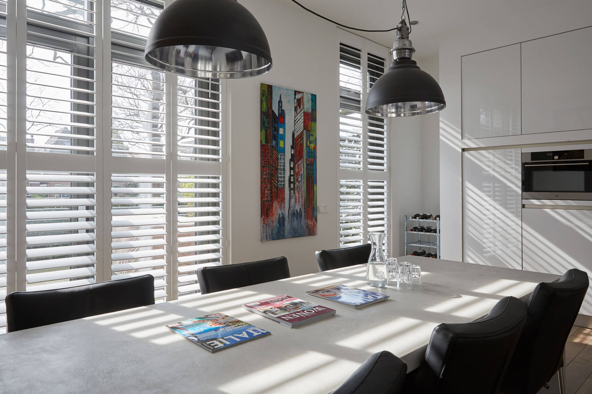 Modern shutters in dining room
