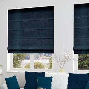 These blinds give a pop of colour in a neutral room.