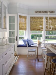 These natural blinds bring a rustic feel to this space.